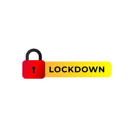 Lockdown sign illustration isolated on white background. Red padlock icon with yellow label.  Security concept. Protection design element. Lock template.