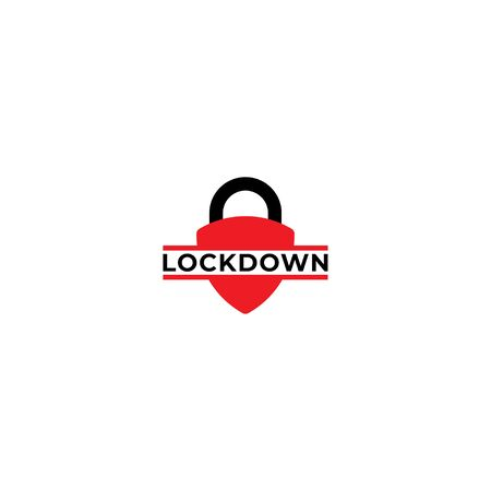 Lockdown sign illustration isolated on white background. Protection design element. Lock logo template. Red shield padlock icon. Security logo concept.  イラスト・ベクター素材
