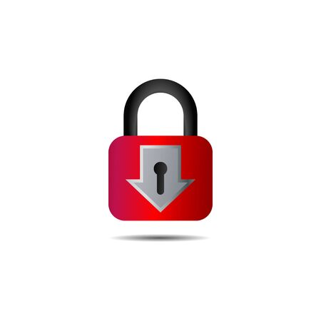 Lockdown sign illustration isolated on white background. Red Down arrow padlock shape icon. Security concept. Protection design element. Lock template