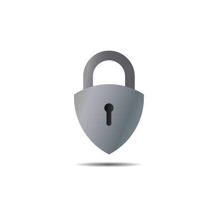 Lockdown sign illustration isolated on white background. Silver Metalic shield padlock shape icon. Security concept. Protection design element. Lock template  イラスト・ベクター素材