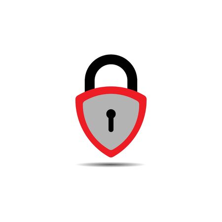 Lockdown sign illustration isolated on white background. Red Gray shield padlock shape icon. Security concept. Protection design element. Lock template