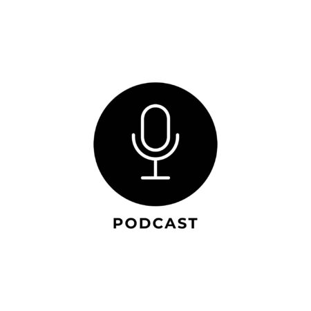 Isolated Minimal Podcast logo design template. Outline logo style. Black & white Pictorial logotype. condenser microphone icon illustration. Internet Broadcasting, Online Radio station. Illustration