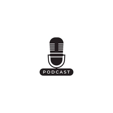 Minimal podcast logo design template. Silhouette microphone icon illustration isolated on white background. Broadcasting, Host, Announcher, Anchor, Radio Station, Stand up comedy.