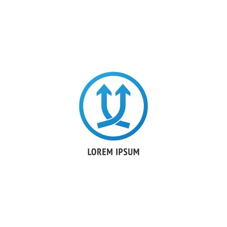 Twin blue up arrow icon with round frame isolated on white background. Company logo design template. Successful progress or grow up next level vector illustration. Improvement, Speed, achievement