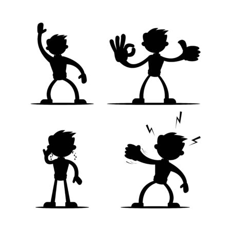 Set of four vector illustrations of silhouettes of boy cartoon character in various gestures in black isolated on white color background. Vol 2.