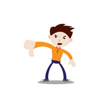Angry-faced boy with thumbs down. Wearing an orange jacket, navy blue pants and sneakers. Flat character illustration isolated on white background.