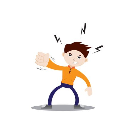 Angry-faced boy punching. Wearing an orange jacket, navy blue pants and sneakers. Flat character illustration isolated on white background. Illustration