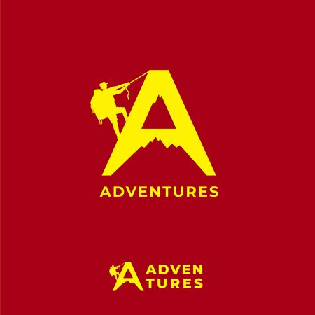 Adventures logo design template isolated on red maroon background. Letter A alphabet, Silhouette of mountain and people climbing logo concept. Suitable for tour guide company, fashion product or others related to outdoor sports Ilustração