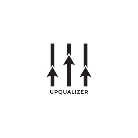 Upqualizer logo design template isolated on white background. up arrow blend with equalizer design concept. Suitable for Bussiness management, Profesional Development, Team Support and other related projects