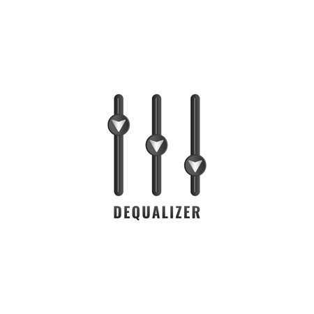 Dequalizer logo design template. Down arrow blend with equalizer design concept. Isolated on white background. Explain performance degradation, losses, recession and other related