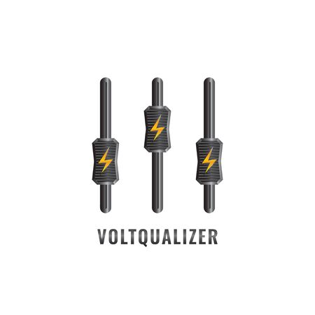 Voltqualizer logo design template. Thunder and equalizer logo concept. Describe the power or energy controller. Isolated on white background 일러스트
