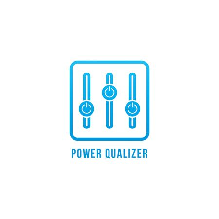 Power Equalizer logo design template. Blue Power Button and equalizer logo concept. Describe the power or energy controller. Isolated on white background