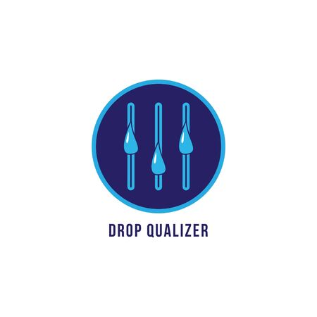 Dropqualizer logo design template. Liquid droplets and Equalizer logo concept. Isolated on white background. Blue color theme.