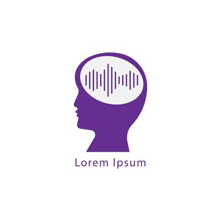 Brainwave logo flat design template. Silhouette of people head with pulse wave signal logo concept. purple color theme. Isolated on white background