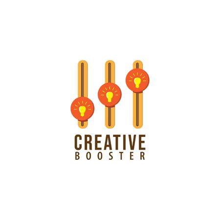 Creative booster logo design template. Glowing light bulb with Equalizer logo concept. Isolated on white background. Yellow and Orange color theme. 일러스트