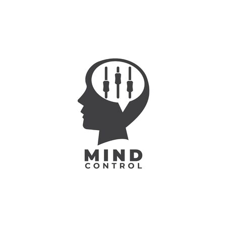 Mind control logo flat design template. Dark Gray Head shilhouette, Speech bubble or callout and equalizer logo concept. Isolated on white background.