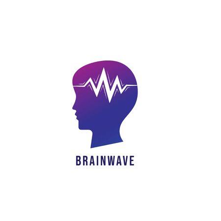 Brainwave logo design template. Silhouette of people head with pulse signal wave design concept. Magenta violet purple gradation color. 일러스트