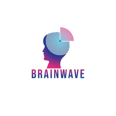 Brainwave logo design template. Silhouette of a people head with signal waves radiating out. Blue Magenta violet purple gradation color. Isolated on white background 일러스트