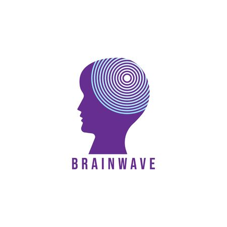 Brainwave logo design template. Silhouette of people head with energy wave logo concept. purple and blue gradation color. Isolated on white background 일러스트