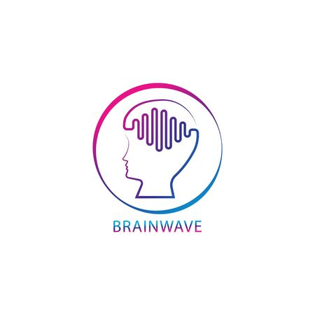 Colorful brainwave logo design template. Outlined people head with pulse signal wave logo concept. Blue Magenta violet purple gradation color. Isolated on white background