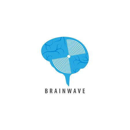Brainwave logo design template. Blue brain with a wave signal spin illustration logo concept. Isolated on white background.