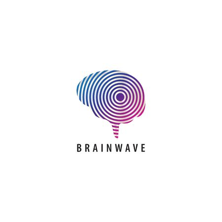 Brainwave logo design template. Colorful brain with a signal wave propagation illustration logo concept. Blue Magenta purple violet gradation color. Isolated on white background.