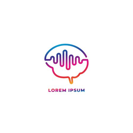 Mind wave outline logo design template. Colorful brain with pulse signal wave logo concept. Blue Magenta violet purple gradation color. Isolated on white background 일러스트