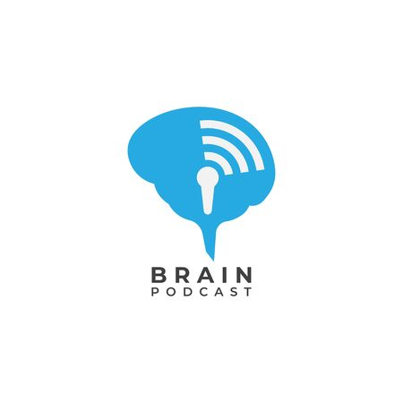 Brain podcast logo design template. Blue brain with microphone icon and signal wave illustration logo concept. Isolated on white background