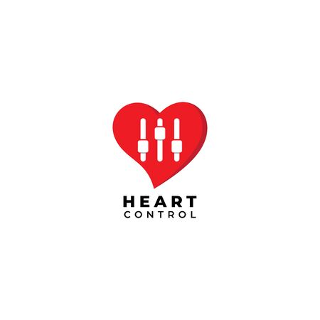 Heart Control logo design template Isolated on white background. Heart, love icon with equalizer logo concept.