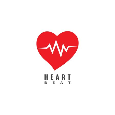 Heart Beat logo design template isolated on white background. Red Heart with pulse signal logo concept. 일러스트