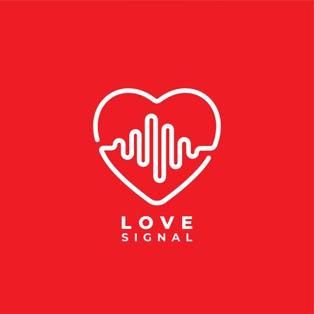 Love signal logo design template. Heart or love icon with pulse signal logo concept. Pictrogram, outline vector illustration isolated on white background