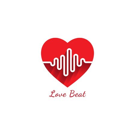 Love beat logo design template. Heart or love icon with pulse signal logo concept. Pictrogram vector illustration isolated on white background 일러스트