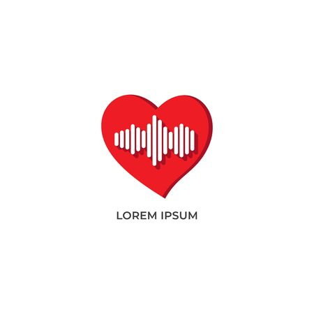 Heart Frequency vector illustration isolated on white background. Love icon with signal frequency design concept. Pictogram logo design template. 일러스트