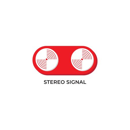 Stereo signal vector illustration. Left and Right signal output design concept. Pictogram logo design template isolated on white background