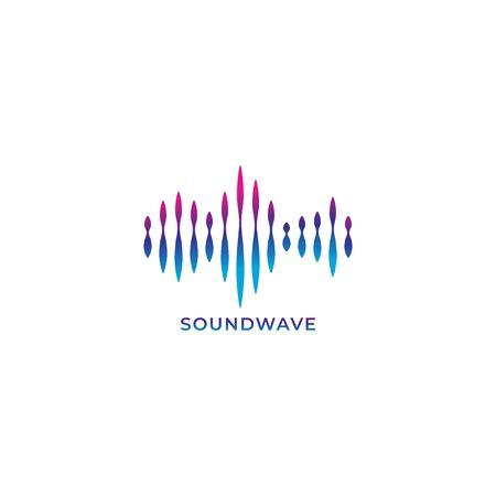 Colorful liquid spectrum audio signal vector illustration. Blue violet magenta gradation color. Logo design template. Isolated on white background 일러스트