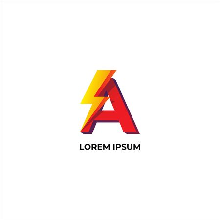 Letter A Logo Design Template. Alphabet and Thunder Logo Concept. Red, Yellow & Orange Gradation Color. Isolated on white background