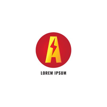 Letter A Logo Design Template. Alphabet and Thunder with Ellipse Shape Logo Concept. Red, Gold or Yellow & Orange Gradation Color. Isolated on white background. 일러스트