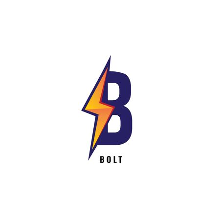 Letter B Initial Logo Design Template Isolated On White Background. Alphabet with thunder logo concept. Blue and Orange Color Theme 일러스트