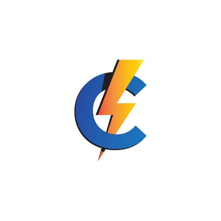 Letter C Initial Logo Design Template. Alphabet with thunder logo concept. Blue, Yellow Orange Gradation Color Theme. Isolated On White Background 일러스트