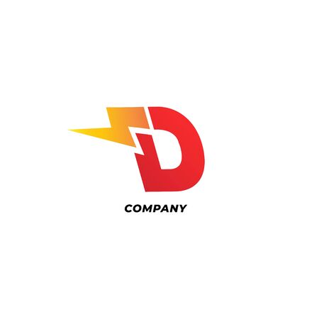 Letter D Initial Logo Design Template. Alphabet with thunder icon logo concept. Red, Yellow Orange Gradation Color Theme.  Isolated On White Background.