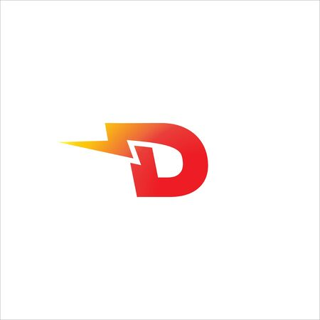Letter D Initial Logo Design Template Isolated On White Background. Alphabet with thunder icon logo concept. Red, Yellow Orange Gradation Color Theme.