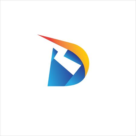 Letter D Initial Logo Design Template.  Alphabet with thunder icon logo concept. Blue, Yellow Orange Gradation Color Theme. Isolated On White Background.