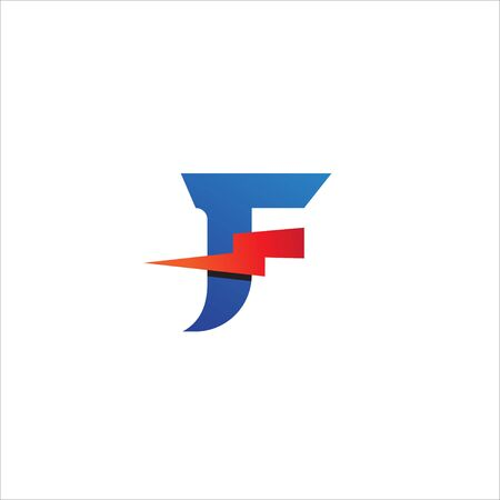 Letter F Initial Logo Design Template Isolated On White Background.  Alphabet with thunder icon logo concept. Red Orange, Blue Gradation Color Theme. 일러스트