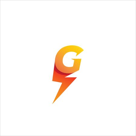 Letter G Initial Logo Design Template Isolated On White Background.  Alphabet with thunderbolt icon logo concept. Yellow Orange Gradation Color Theme.