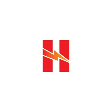 Letter H Initial Logo Design Template.  Alphabet with thunderbolt icon logo concept. Red and Orange Gradation Color Theme.  Isolated On White Background. 일러스트