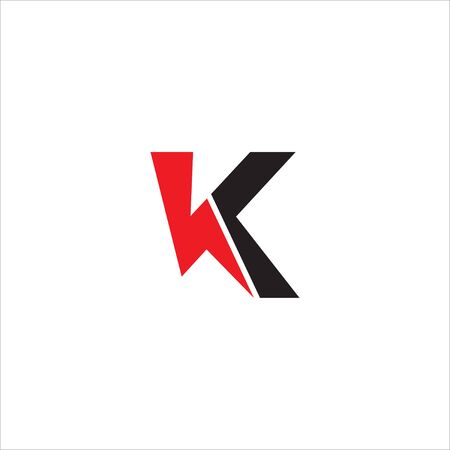 Letter K Initial Logo Design Template. Alphabet with Lightning shape logo concept. Black and Red Color Theme. Isolated On White Background. 일러스트