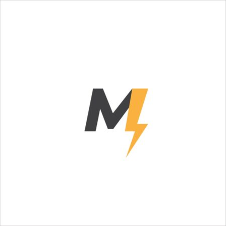 Letter M Initial Logo Design Template. Alphabet Thunder Logo Concept. Space Grey, Yellow Orange Color Theme. Isolated On White Background.