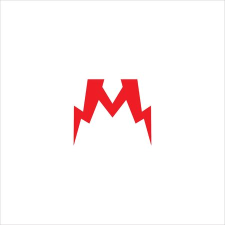 Letter M Initial Logo Design Template Isolated On White Background. Alphabet Thunder Logo Concept. Red Color Theme. 일러스트