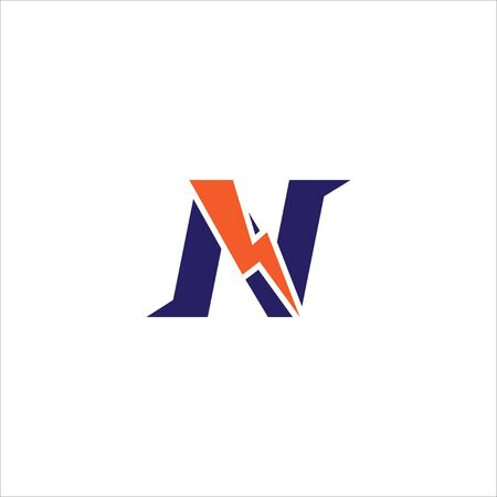Letter N Initial Logo Design Template. Alphabet with Thunder Logo Concept. Blue and Orange Color Theme. Isolated On White Background