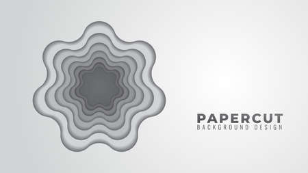 Monochrome Wavy Hole Papercut Layers Vector Illustration. Abstract Background Design Template. Gray Gradient Color Theme.